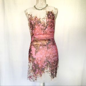 Kay Unger // Pink Abstract Floral Mesh Mini Dress